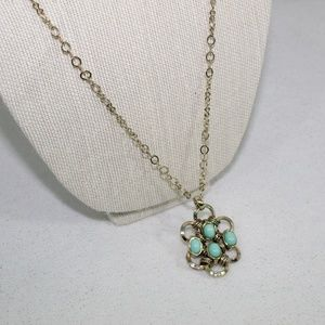 Banana Republic Gold and Mint Teal Flower Necklace